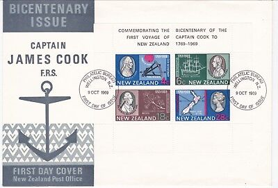 New Zealand. 1969 Cook Miniature Sheet First Day Cover
