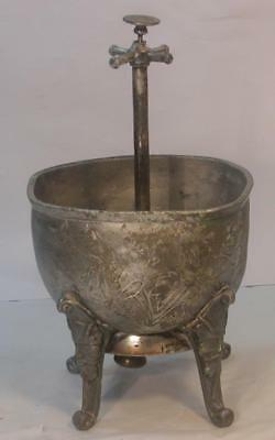 Antique Vintage Silverplate Tea Leaves Waste Bowl W/butler Call Bell-Used-Rare