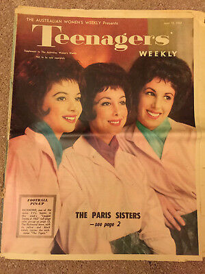 Teenagers Weekly Magazine 1962 Paris Sisters Richmond Tigers VFL Team Pin Up