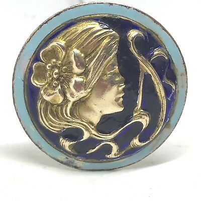 Antique Victorian Hat Pin.   Flowers in Her Hair.  Enamel.  Amazingly Beautiful!