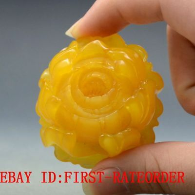 31.9g 100% Natural Amber Beeswax Baltic Hand-carved Rose  Statue Pendant F52