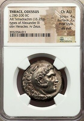 NGC Ch AU 4/5-2/5 Fine Style. Thrace Tetradrachm. Types of Alexander the Great.