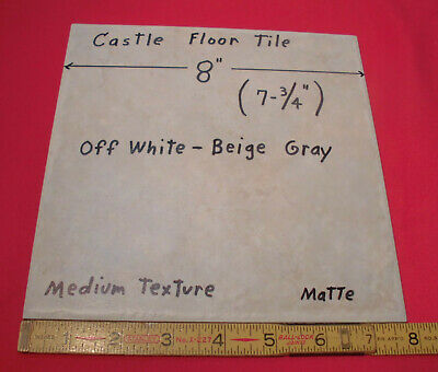 "1 pc. Textured *Off-White-Gray-Beige* Ceramic Floor Tile  8"" X 8"" size 7-13/16"""