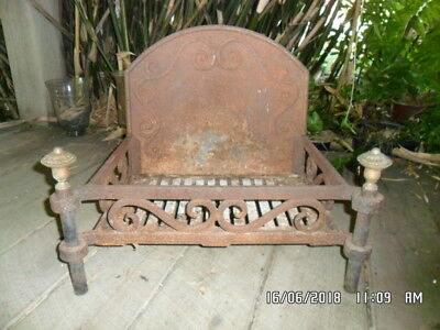 Antique Cast Iron Fire Grate with Brass Knobs