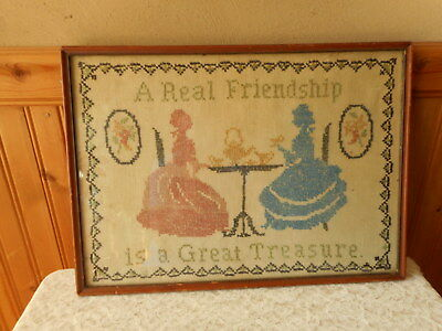 Vintage Needlepoint A Real Friendship Is A Great Treasure B Day 1907