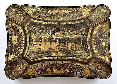 1900's Chinese Export Gilt Lacquer Wood Sewing Jewelry Box Chinoiserie Figure