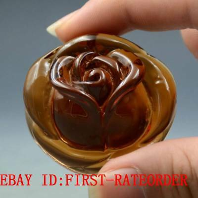 19.6g 100% Natural Baltic Amber Stone Hand-carved Rose Flower Statue Pendant F35