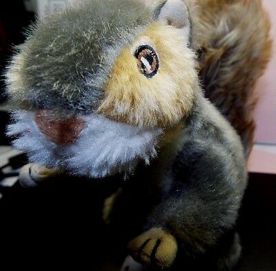 """Plush 8"""" Squeaky Gray Squirrel With Embroidered Eyes and Bushy Tail, Really CUTE"""