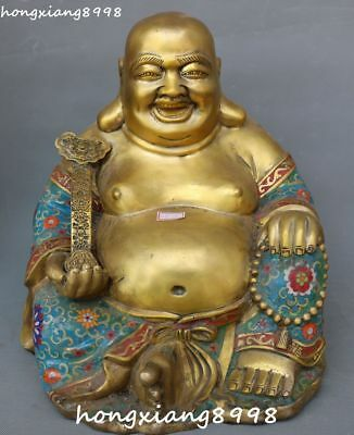 "16"" Cloisonne Enamel Gold Gilt Happy Laugh Maitreya Buddha Ru Yi Beads Statue"