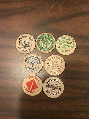 7 Wooden Nickels From Maryland,texas, Minnesota, Walmart & 3 Others.