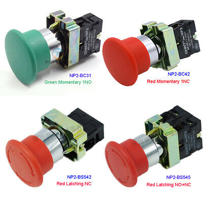 22mm Emergency Stop Mushroom Push Button Switch 415V 10A Momentary/Latching