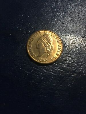 1862 Confederate States Of America 5 Dollar Coin See Picture