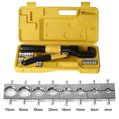 8 Ton Hydraulic Crimper Plier Crimping Tool Kit Lug Battery Wire Cable Cutter
