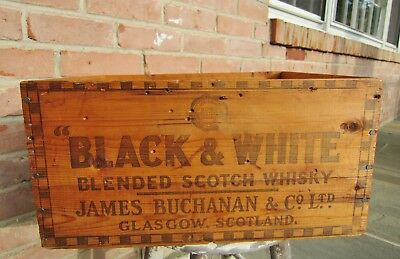 Vintage Black and White Scotch Whisky Crate from 1954 with Checkerboard Pattern