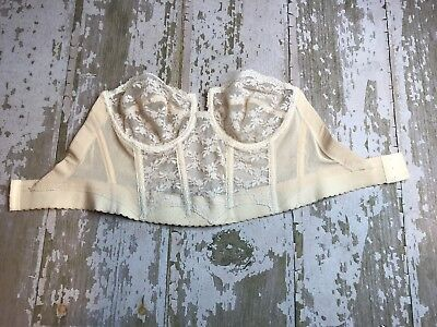 Vintage 80's-90's BACKLESS By Young Smoothies Sheer Ivory Lace Strapless Bra 36C