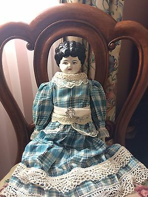 "Antique Glazed China Head Doll - 21"" Inches - Handmade Dress"