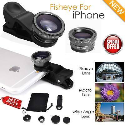 Wide Angle 180° Fish Eye Macro Clip Camera Lens Kit for smart Phones