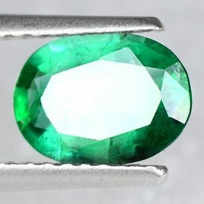 0.93 Cts Natural Top Green Emerald Loose Gemstone Oval 8x6 mm Untreated Zambia