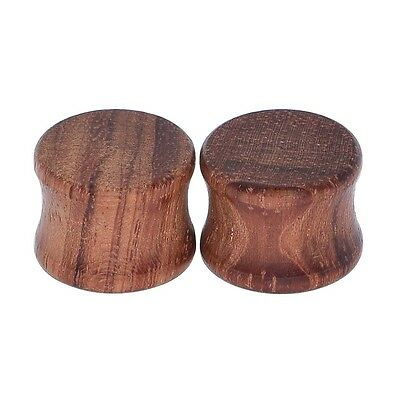 Pair of Vintage Brown Organic Wood Saddle Double Flared Solid Ear Plug Expanders