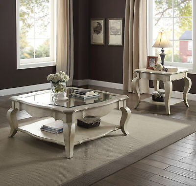 Acme Chelmsford Coffee Table in Antique Taupe and Clear Glass Finish 86050