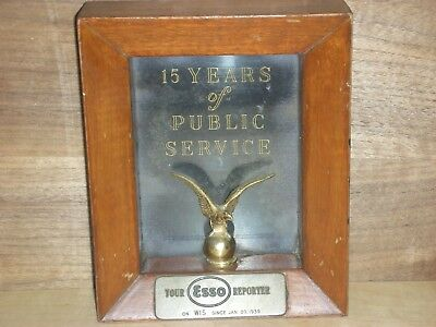 Esso 15 years public service since 1939 station award,gas,oil,sign,petroleum