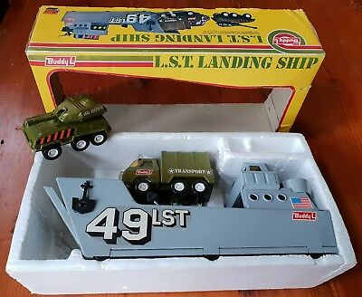 BUDDY L c1970s L.S.T. LANDING SHIP with TANK, TRUCK, BOX complete 5149 USA Steel
