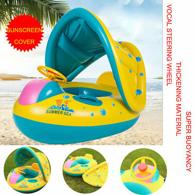 Children Inflatable Kids Baby Toddler Swimming Pool Swim Seat Float Boat Ring UK