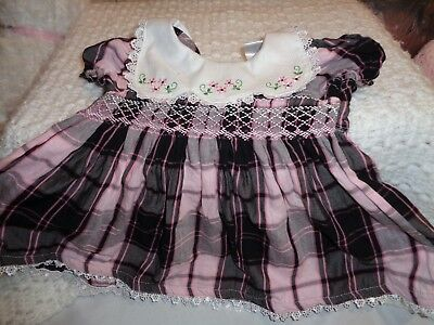Vintage Baby Or Doll Dress, Size 00, Smocked Bodice, Embroidered Collar