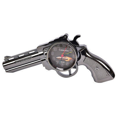 Novelty Pistol Gun Shape Alarm Clock Desk Table Home Office Decor Gifts OQ
