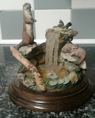 Rare Country Artists Large Otter With Waterfall Figurine Wooden Base CA 568 1995