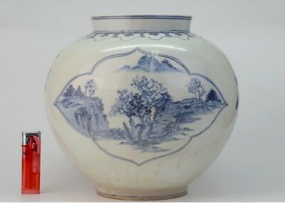 Korean late joseon blue&white Ceramic jar landscape handpainted vase pot 19th