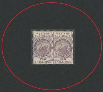 Western Australia 1881 Internal Revenue Lilac 10/- Pair Very Good Condition