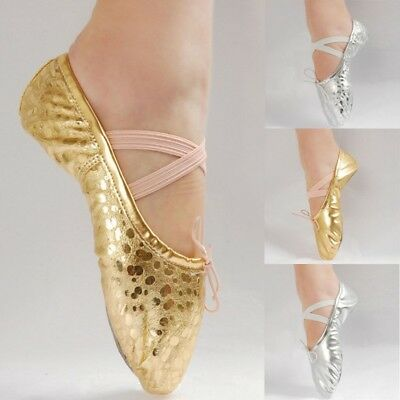Women Girl Ballet Dance Shoes Gymnastics Soft Sole Training Shoes Golden Silver
