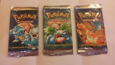 Pokemon Karten Basis 1 Edition Booster Set Glurak Turtok Bisaflor Neu LEER