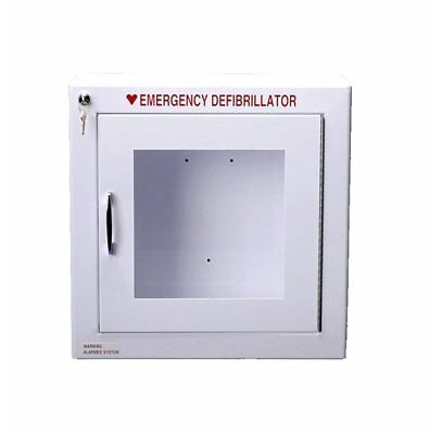 Alarmed AED Defibrillator Wall Mounted Storage Cabinet Fit Cardiac Science, Zoll