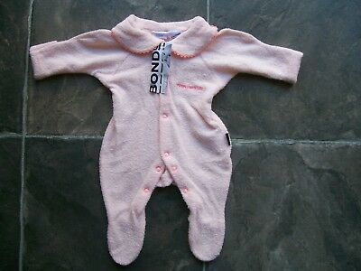 BNWT Baby Girl's Bonds Pink Towelling Wondersuit Coverall Size 0000 & 000