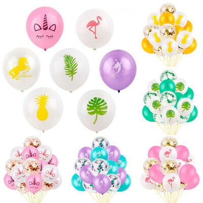 15 PCS Hawaiian Tropical Flamingo Confetti Balloons Helium Birthday Party Decor