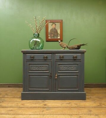 Blue Painted Sideboard Kitchen Cabinet, Art Nouveau, Bohemian & Unusual