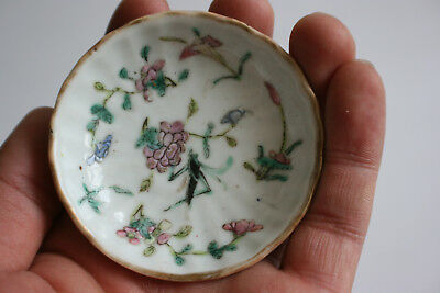 Antique Chinese Porcelain Hand Painted Small Plate Dish - Marks
