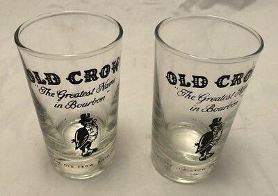 Old Crow Whiskey Drinking Glass 8 oz. The Greatest Name In Bourbon Tumbler VTG