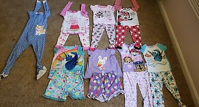 Lot of 8 toddler pajamas sets dory paw patrol minnie mouse size 4t 5t