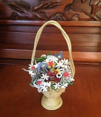 French Beaded Flower Arrangement Blue Birds, beaded and glass flowers in basket