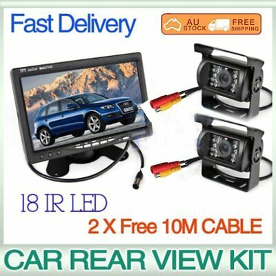 "7"" LCD Monitor Car Rear View Kit + 2x IR 18 LED Reversing Camera Bus Truck KL"