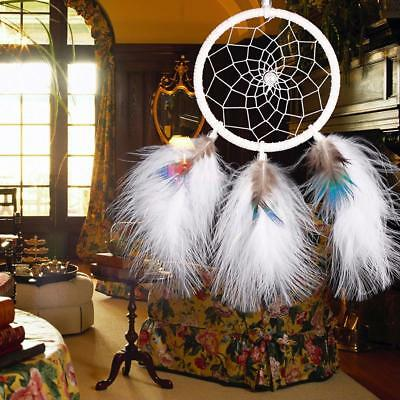 White Dream Catcher Handmade Hanging Wall Feathers Ornament Decoration Car Decor
