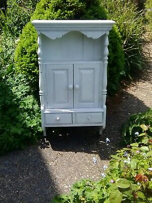 Cabinet Antique White painted french country pine shelf cupboard