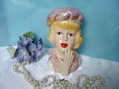 PRETTY LADY HEAD VASE - pink dress and hat