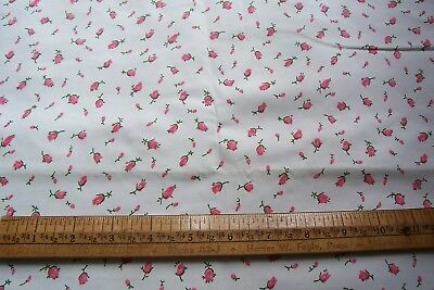 Vtg 1950's  to 1960's   Cotton/Rayon Tiny Rose Buds  Fabric  Quilt Dress Crafts
