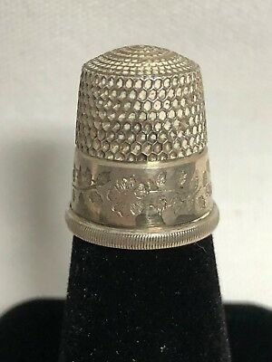 Antique Stern Bros Sterling Silver Thimble Floral Engraved Pattern Size 11