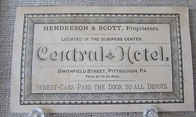 ca 1885 CENTRAL HOTEL PITTSBURGH PA PROPRIETOR ADVERTISING TRADE CARD BUSINESS