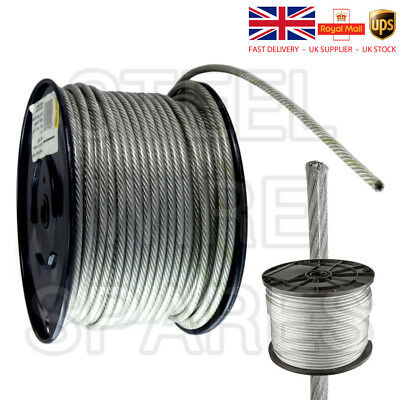 10 Meters 4-6mm CLEAR NYLON Covered Wire Rope 7x19 GYM MACHINE CABLE FREE P+P